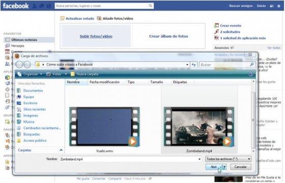 Elegir el vídeo que se va a subir a Facebook