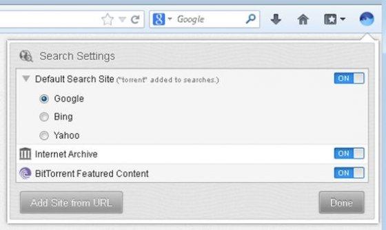 Selecciona el motor de búsquedas que quieres utilizar para localizar torrents