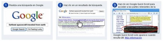 tutorial de uso de la extensión Google Quick Scroll