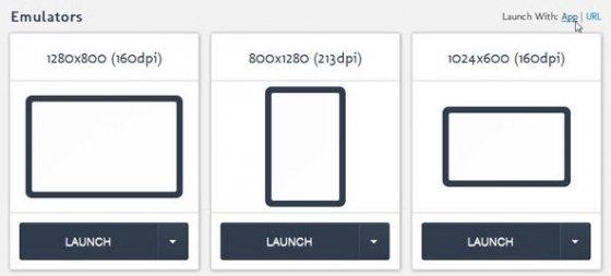 Selección de la resolución del emulador de Android