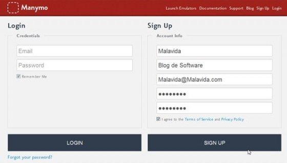 Ventana de registro de nuevo usuario en Manymo
