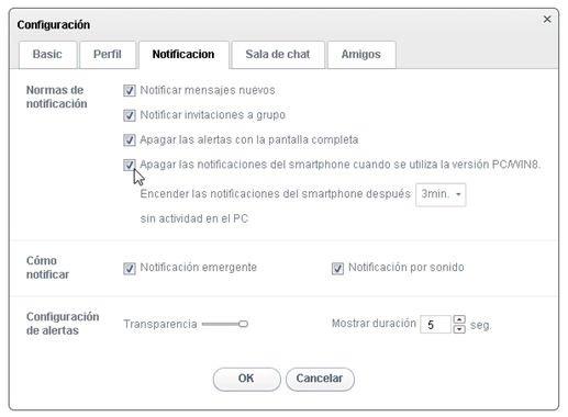 Opciones de configuración de LINE