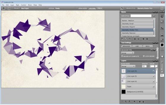 Interfaz comleta mientras se crea un dibujo