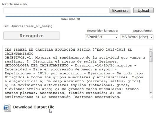 Resultado de la digitalización del documento