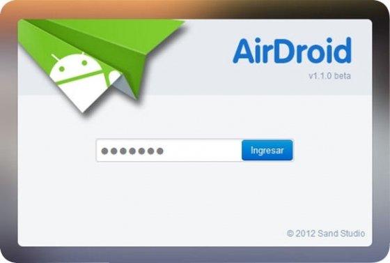 Introducción de código de acceso a la web de AirDroid