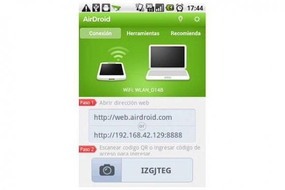 Interfaz de la app AirDroid