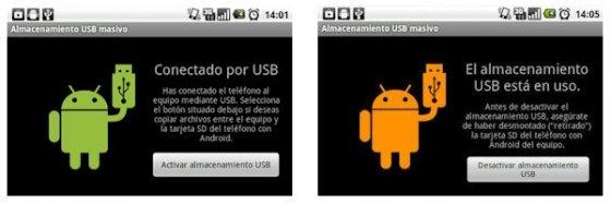 Activación del almacenamiento USB en el terminal Android