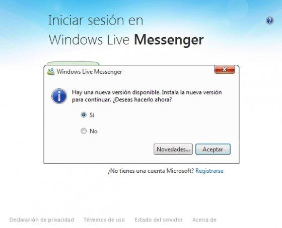 Actualizar Skype desde Messenger