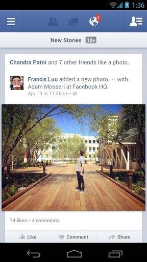 Aplicación de Facebook como una de las mejores aplicaciones de redes sociales para utilizar con Andr
