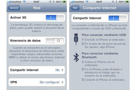 Activación de funciones de tethering en iPhone