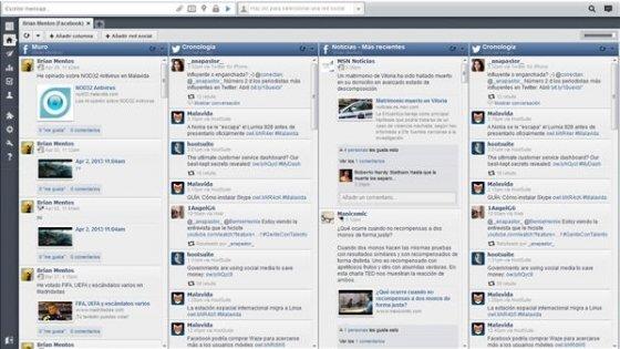 Vista de la interfaz de Hoosuite con Twitter y Facebook