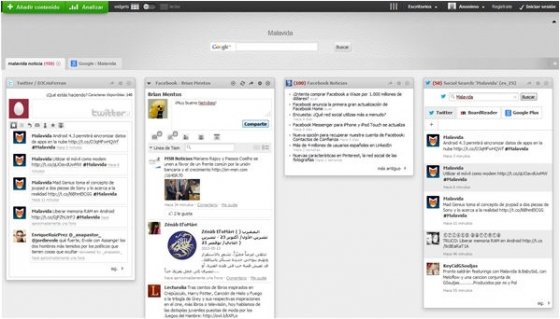 Ventana de netvibes con Facebook y Twitter configurados