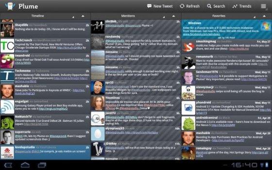 Interfaz de columnas de Plume para Android