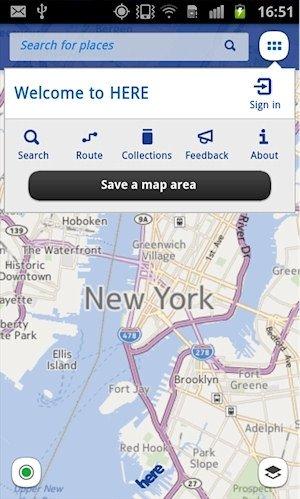 Mapas de Nokia HERE Maps offline