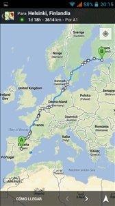 Ruta en Google Maps para smartphone