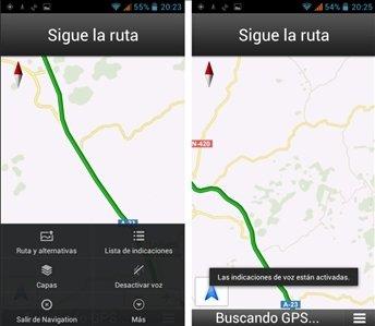 Opciones en Google Maps para smartphone