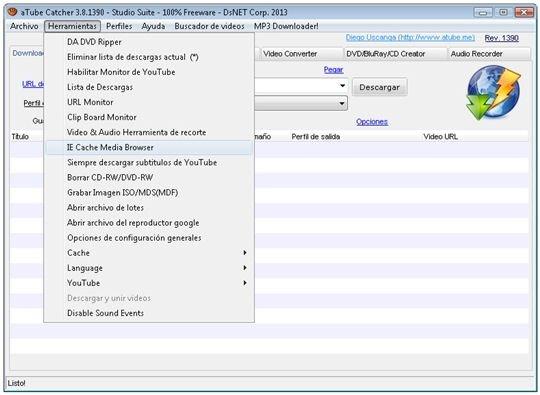 opción del menú herramientas para acceder a la caché de IE