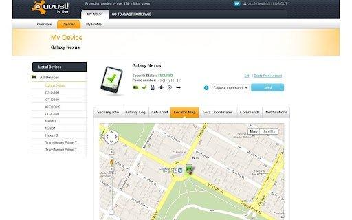 Interfaz web de Avast para localizar teléfonos perdidos o robados