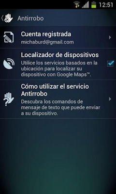 Menú de AVG para Android con opciones antirrobo
