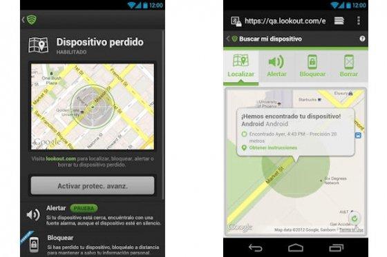 Aplicación Lookout para Android en función de localización