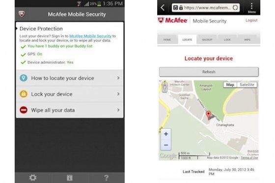 Menú para activar el rastreo en McAfee Mobile Security
