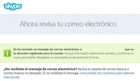 Mensaje de Skype para alertar del envío del correo para restaurar la contraseña