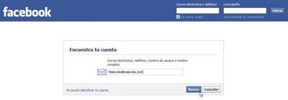 Página para recuperar una cuenta de Facebook