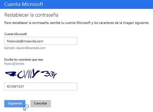 Página para recuperar una cuenta Microsoft
