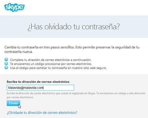 Página de Skype para recuperar la contraseña