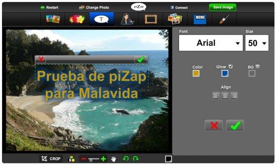 Editar fotografías con piZap gratis en la web