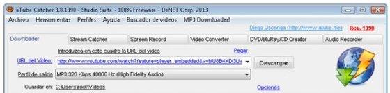 Opción para pegar la dirección URL del vídeo con la canción a descargar