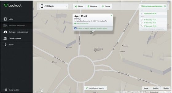 Página web del servicio de localización de dispositivos