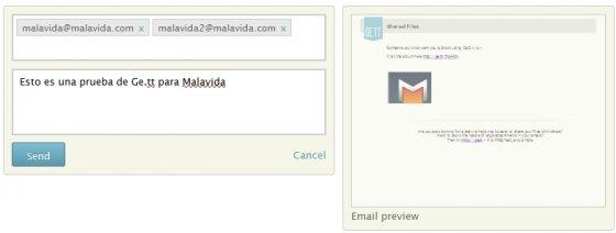 Enviar archivos con Ge.tt mediante correo electrónico