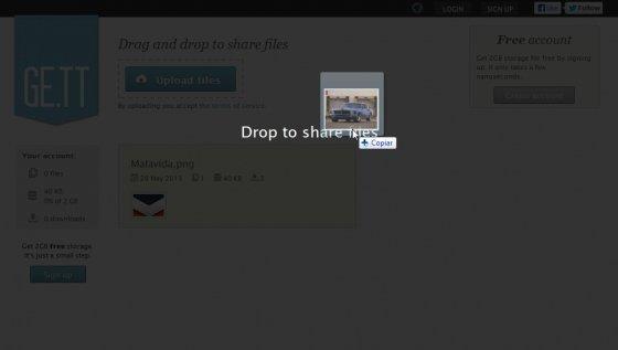 Subir archivos a Ge.tt mediante arrastrar y soltar
