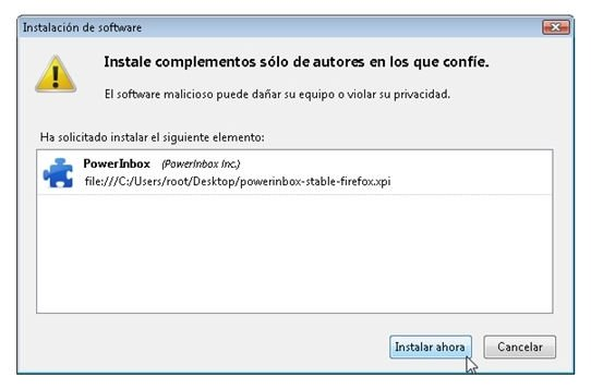 Cuadro de diálogo de la instalación de PowerInbox en Firefox