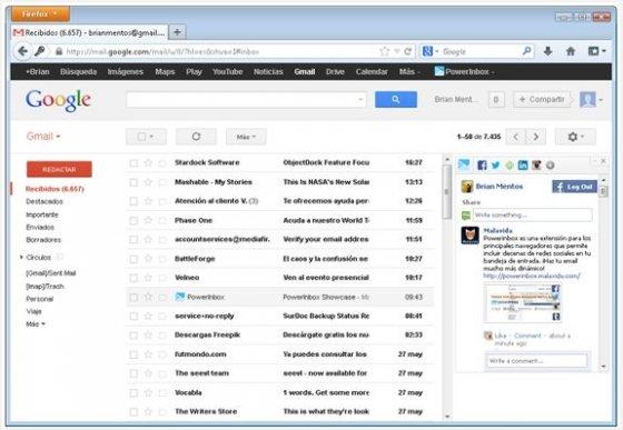 PowerInbox funcionando junto a Facebook en Google Mail