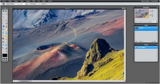 Interfaz de Pixlr editor Advanced