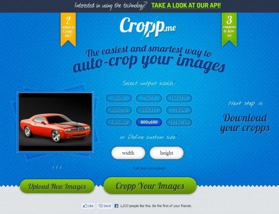 Cambiar el tamaño de una imagen con Cropp.me. Seleccionar el tamaño.