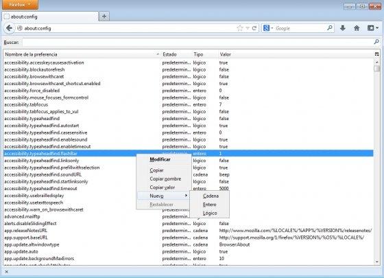 Crear una nueva preferencia en Firefox