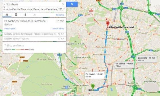 Itinerario en coche de un punto a otro