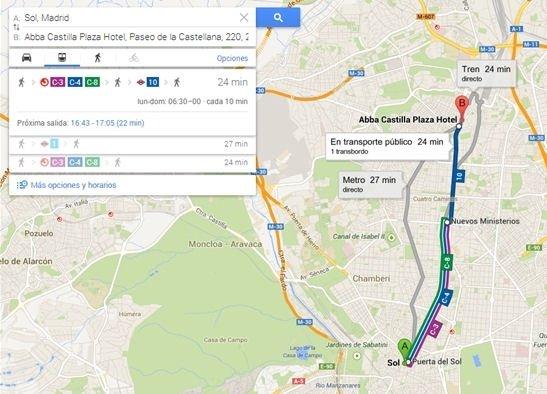 Itinerario en transporte público de un punto a otro