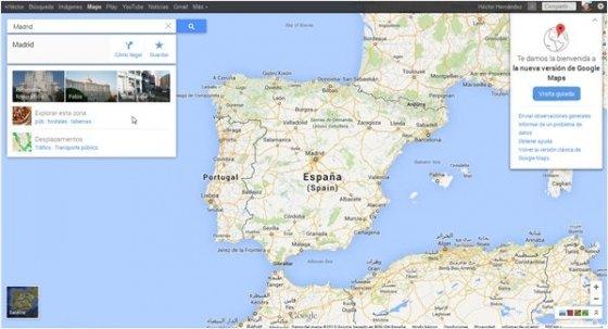 Mapa nuevo de Google Maps