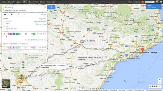 Modo cómo llegar de Google Maps