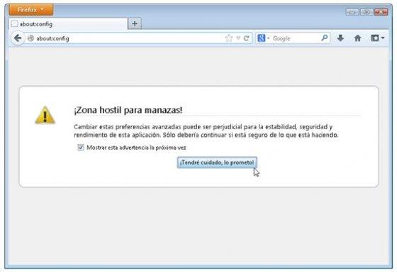 Acceso a la configuración interna de Firefox