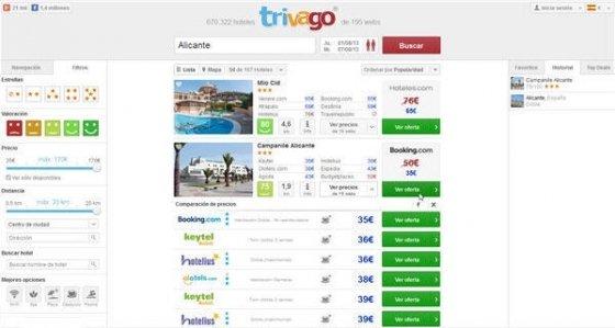 Reserva de un hotel en Alicante a través de Trivago