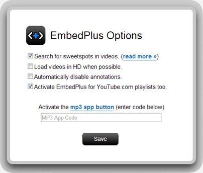 Opciones de la configuración de EmbedPlus instalado