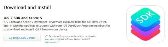 descarga de iOS 7 desde el canal para desarrolladores oficial de Apple