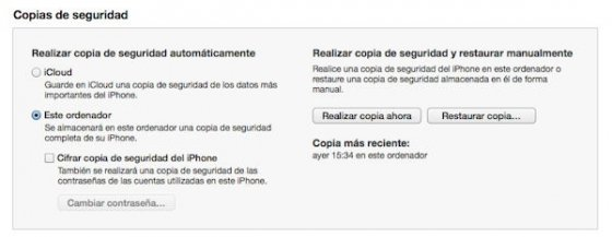 Guaradr copia de seguridad de iPhone