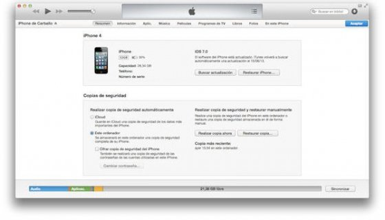 Sincronización entre iPhone e iTunes