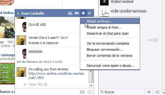 Enviar archivos desde la ventana de chat de Facebook